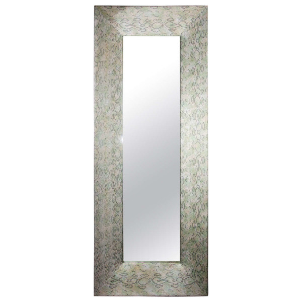 leather frame mirror, snake mirror, 20th century