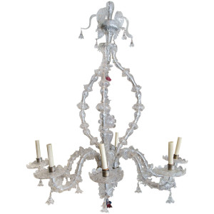 1920 italian glass venetian chandelier, venini chandelier